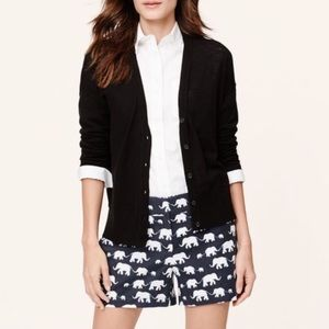 LOFT elephant print linen blend shorts